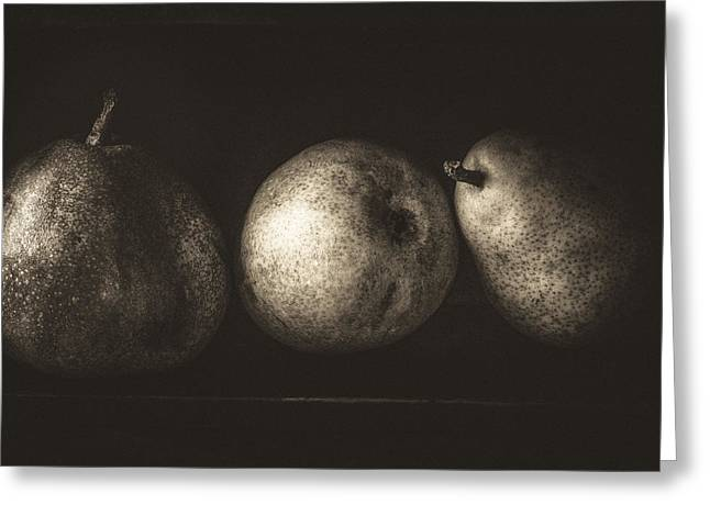 Wooden Box Greeting Cards - Rainy day pears in black Greeting Card by Constance Fein Harding