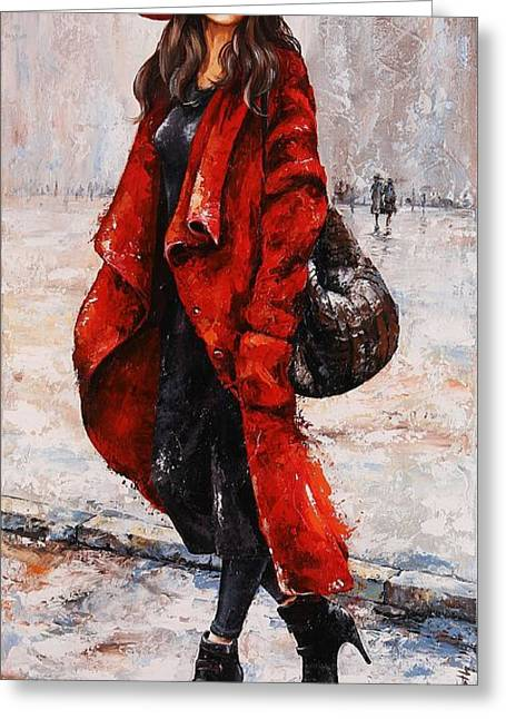 Black Scarf Greeting Cards - Rainy Day - Red and black #2 Greeting Card by Emerico Imre Toth
