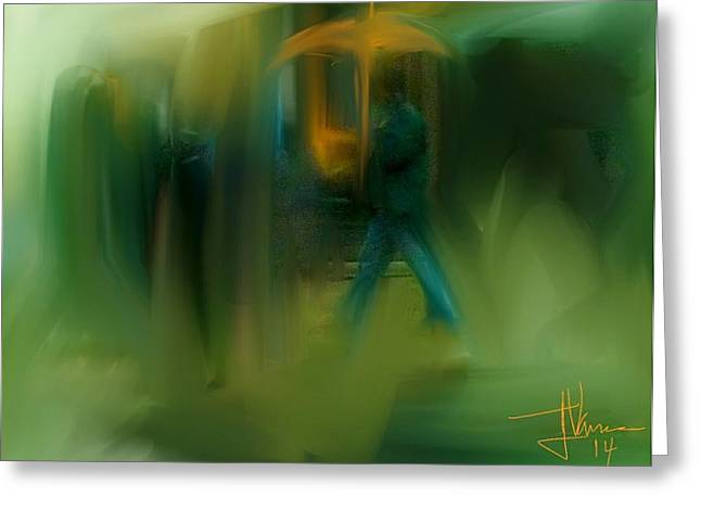 Abstract Rain Greeting Cards - Rainy Day Stroll Greeting Card by Jim Vance