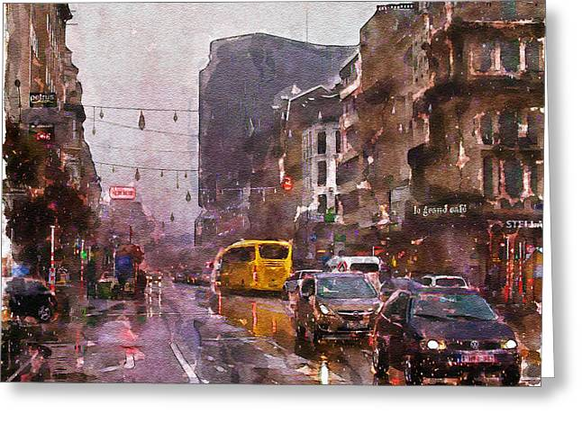 Overcast Day Greeting Cards - Rainy Day Traffic Greeting Card by Marian Voicu