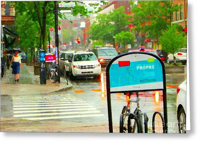 The Plateaus Greeting Cards - Rainy Day Woman Blue Umbrella City Scene Montreal Bike Lane Busy Street Corner Carole Spandau  Greeting Card by Carole Spandau