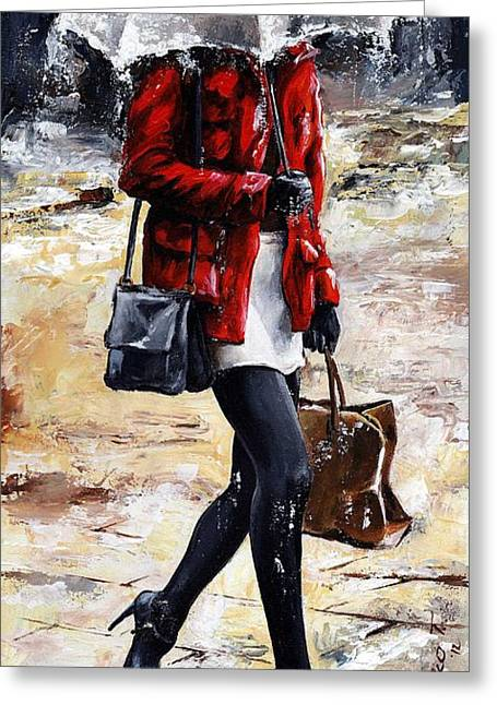 New York City Rain Greeting Cards - Rainy day - Woman of New York 09 Greeting Card by Emerico Imre Toth
