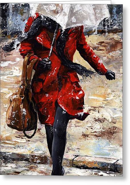 Black Scarf Greeting Cards - Rainy day - Woman of New York 10 Greeting Card by Emerico Imre Toth