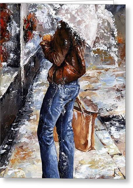 New York City Rain Greeting Cards - Rainy day - Woman of New York 15 Greeting Card by Emerico Imre Toth