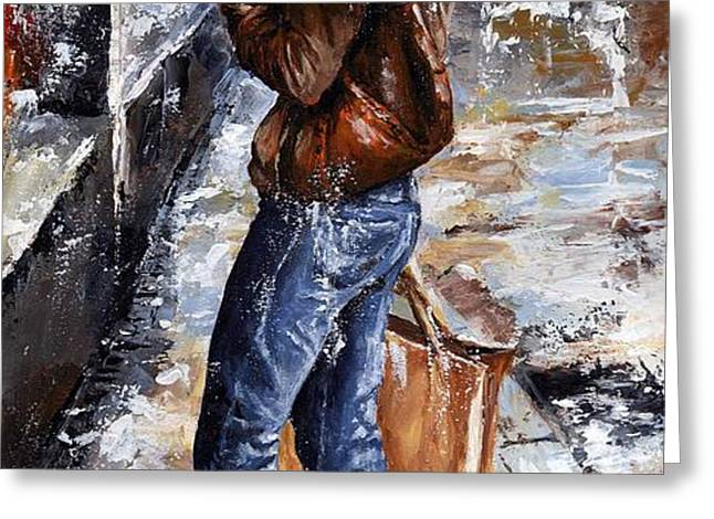 Rainy day - Woman of New York 15 Greeting Card by Emerico Imre Toth