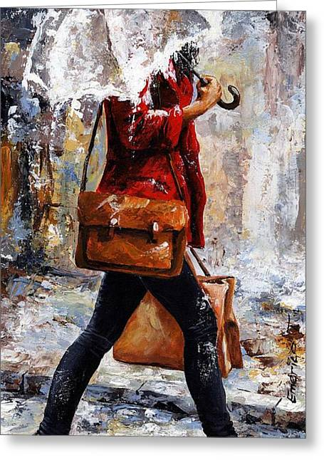 People Paintings Greeting Cards - Rainy day - Woman of New York 17 Greeting Card by Emerico Imre Toth