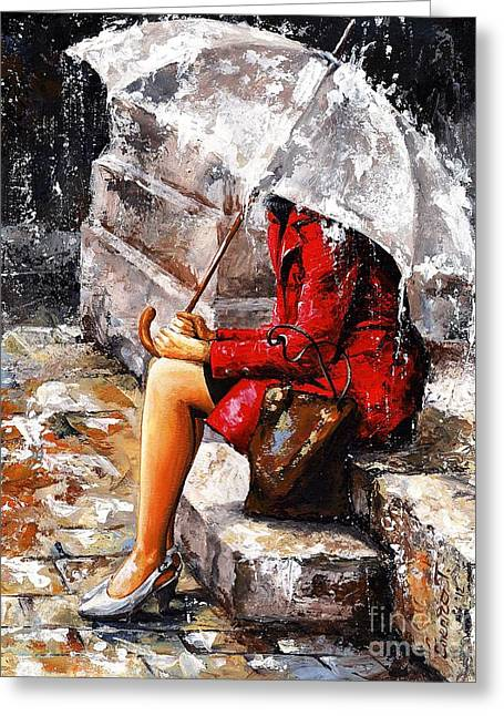 New York City Rain Greeting Cards - Rainy day - Woman of New York Greeting Card by Emerico Imre Toth