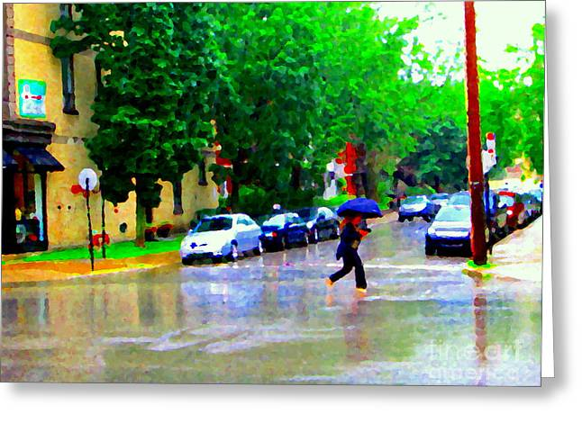 The Plateaus Greeting Cards - Rainy Days And Mondays Girl Running With The Blue Umbrella Montreal Art City Scenes Carole Spandau Greeting Card by Carole Spandau