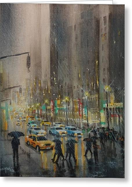 City Rain Greeting Cards - Rainy Days and Mondays Greeting Card by Tom Shropshire