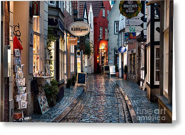 Deutschland Greeting Cards - Rainy Evening in Old Town Greeting Card by Ari Salmela