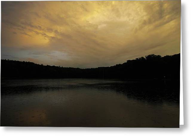 Dark Woods At Sunset. Greeting Cards - Rainy Evening Light Greeting Card by Charles Russell