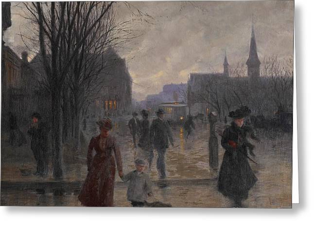 Mom Paintings Greeting Cards - Rainy Evening on Hennepin Avenue Greeting Card by Robert Koehler