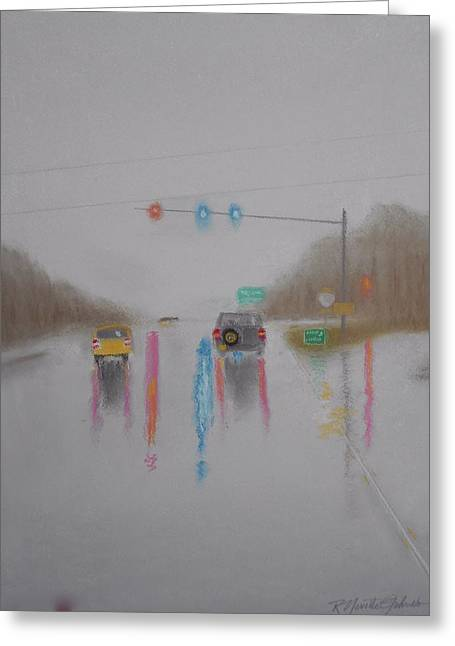 Foggy Day Pastels Greeting Cards - Rainy Foggy Drive in the Country  Greeting Card by R Neville Johnston
