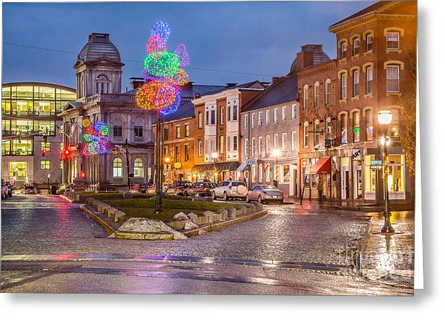 Old Maine Houses Greeting Cards - Boothby Square Holidays Greeting Card by Benjamin Williamson