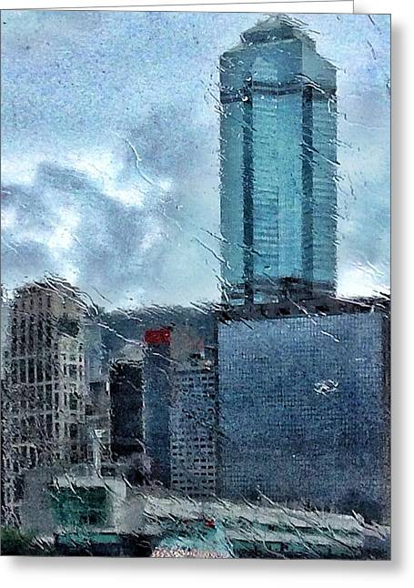 Live Art Greeting Cards - Rainy Hong Kong Greeting Card by Yury Malkov