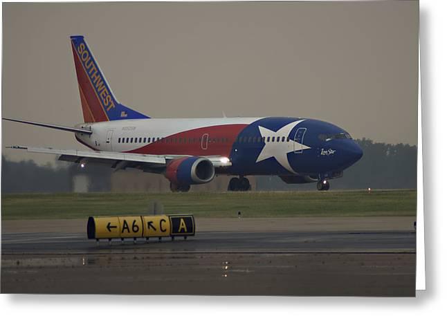 Jet Star Greeting Cards - Rainy Lone Star Greeting Card by Ricky Barnard