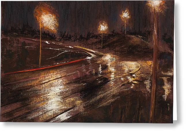 Traffic Pastels Greeting Cards - Rainy Minnesota Bypass Greeting Card by Jocelyn Paine