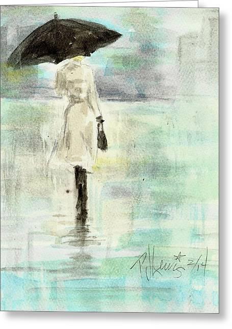 Rainy City Greeting Cards - Rainy Monday Greeting Card by P J Lewis