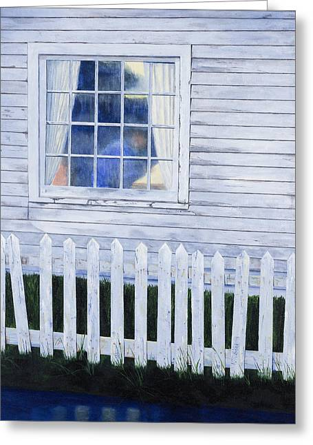 Finger Lakes Paintings Greeting Cards - Rainy Morning Blues Greeting Card by Garry McMichael