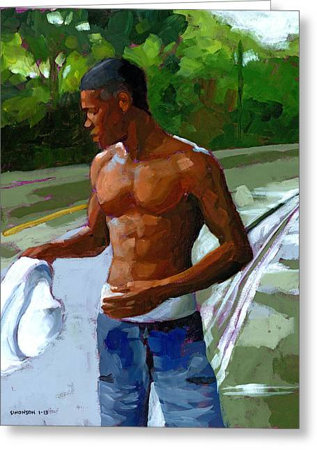 Male Figure Greeting Cards - Rainy Morning Study Greeting Card by Douglas Simonson