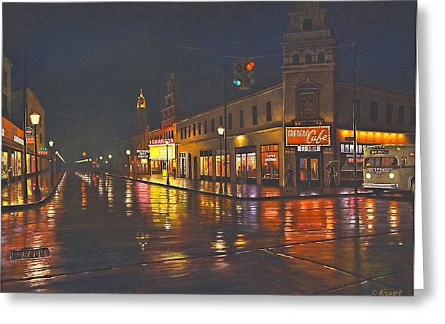 Raining Greeting Cards - Rainy Night-117th and Detroit     Greeting Card by Paul Krapf