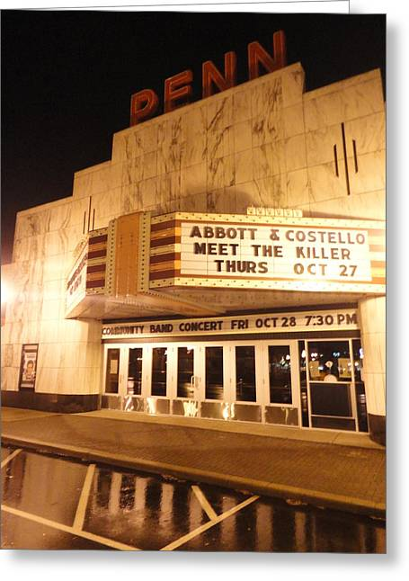 Guy Ricketts Photography Greeting Cards - Rainy Night at the Penn Theater Greeting Card by Guy Ricketts