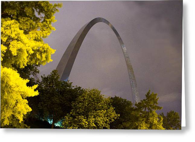 Arches Memorial Photography Greeting Cards - Rainy Night at the St Louis Arch Greeting Card by Garry McMichael