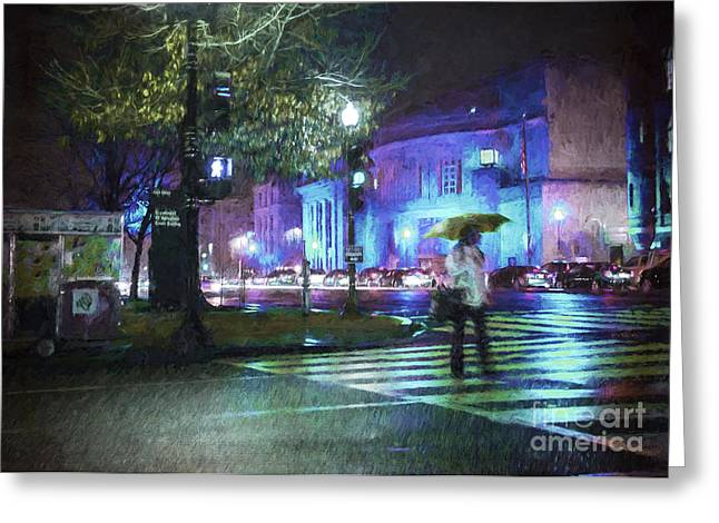 Crosswalk Greeting Cards - Rainy Night Blues Greeting Card by Terry Rowe