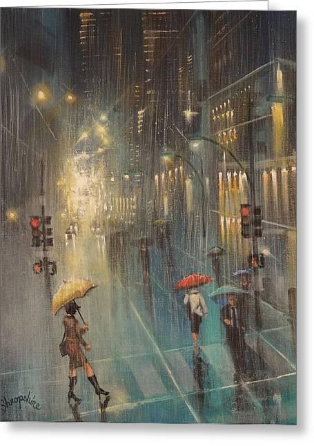 Thunderstorm Paintings Greeting Cards - Rainy Night Blues Greeting Card by Tom Shropshire