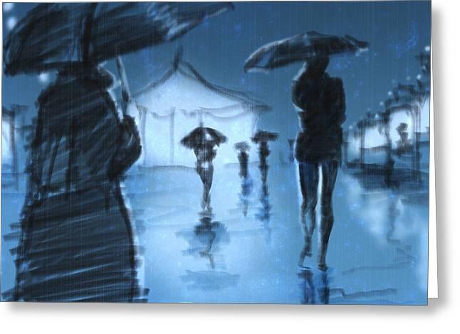 Umbrella Mixed Media Greeting Cards - Rainy Night Greeting Card by H James Hoff