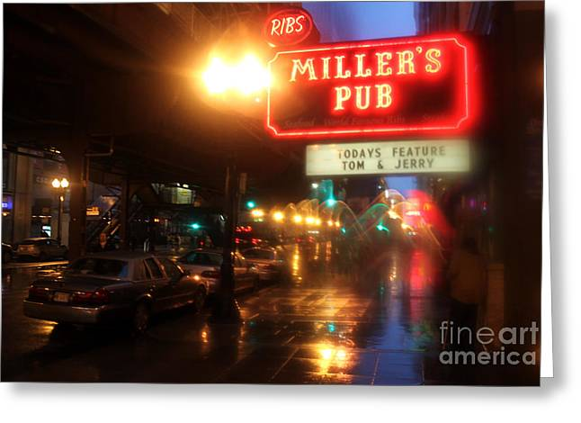 Rainy Night In Chicago Greeting Card by Gregory Dyer