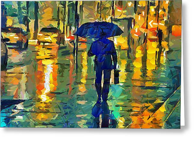 Live Art Greeting Cards - Rainy Night in NYC Greeting Card by Yury Malkov