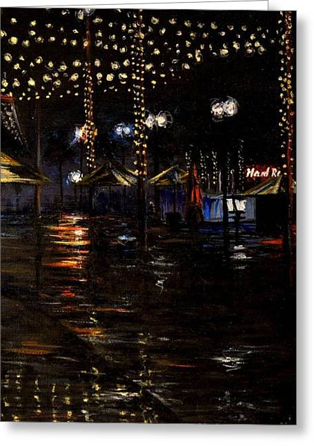 Wdw Greeting Cards - Rainy night in Orlando Greeting Card by Karen Strangfeld