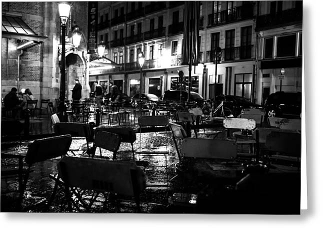 Rainy Night In Saint-gery Greeting Card by Mountain Dreams