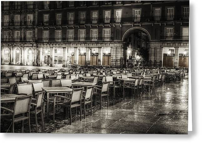 Night Cafe Photographs Greeting Cards - Rainy Plaza Greeting Card by Joan Carroll