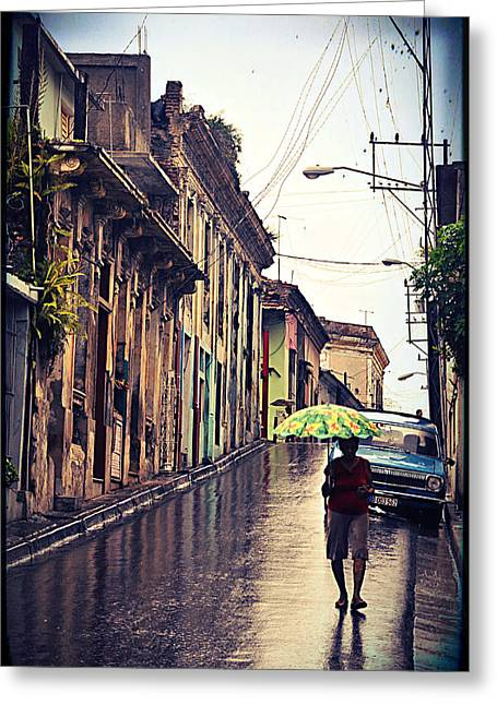 Santiago Cuba Greeting Cards - Rainy Santiago de Cuba Greeting Card by Maria Godawa