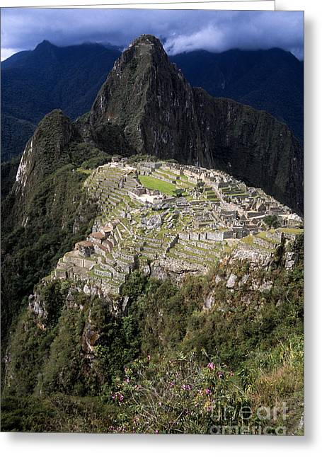 Lost City Greeting Cards - Rainy Season at Machu Picchu Greeting Card by James Brunker