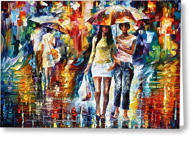 Shopping Bag Greeting Cards - Rainy Shopping Greeting Card by Leonid Afremov