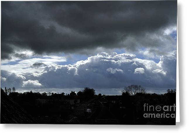 Weather Report Greeting Cards - Rainy sky over a  village in the west of France. Greeting Card by Joel Douillet