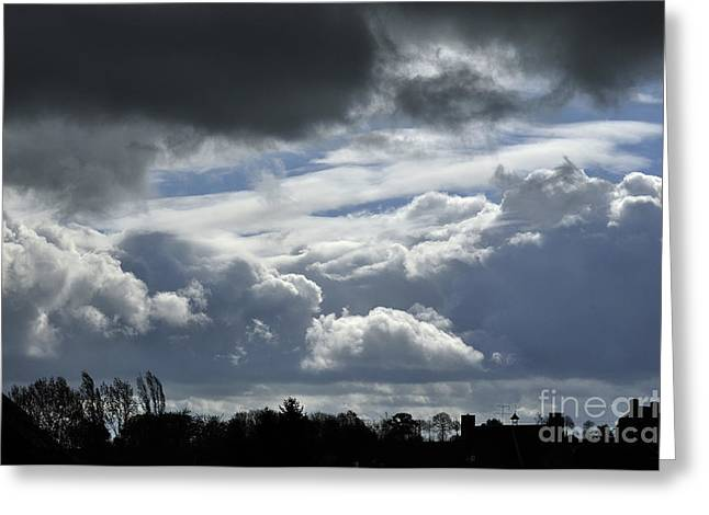 Weather Report Greeting Cards - Rainy sky over a village. Greeting Card by Joel Douillet