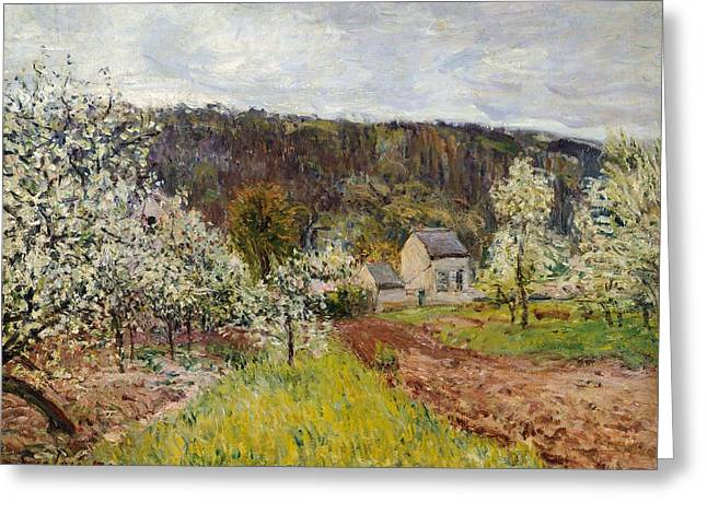 Wet Greeting Cards - Rainy spring near Paris Greeting Card by Alfred Sisley