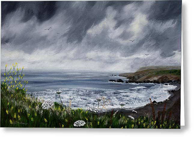 Grey Clouds Greeting Cards - Rainy Springtime in Pacifica Greeting Card by Laura Iverson