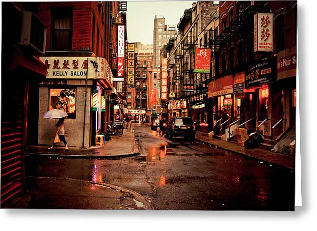 New York City Rain Greeting Cards - Rainy Street - New York City Greeting Card by Vivienne Gucwa