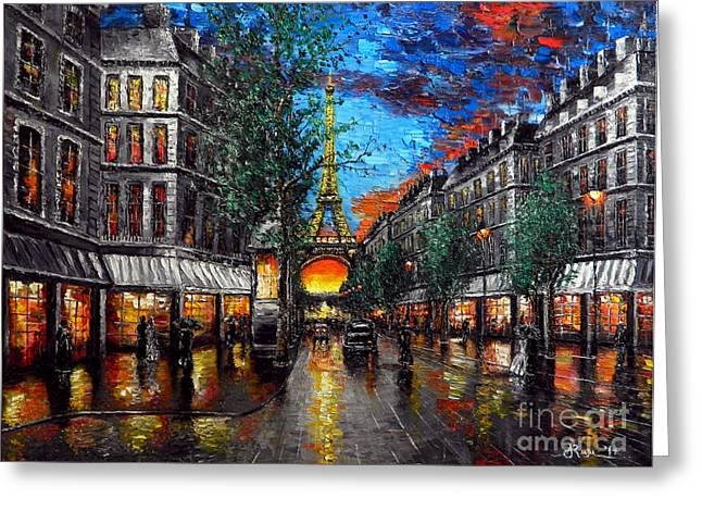 Wet Reliefs Greeting Cards - Rainy Sunset in Paris Greeting Card by Alexandru Rusu