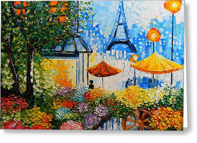 People Reliefs Greeting Cards - Joy in Paris Greeting Card by Denisa Laura Doltu