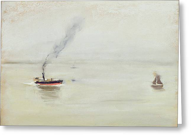 Docked Sailboat Greeting Cards - Rainy Weather on the Elbe Greeting Card by Max Liebermann