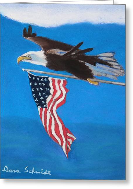 Bald Eagle Pastels Greeting Cards - Raise the Flag Up High Greeting Card by Dana Schmidt