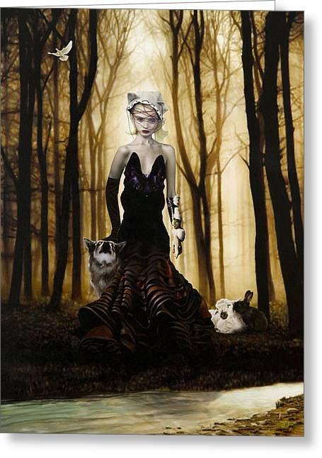 Figurative Mixed Media Greeting Cards - Raised By Wolves Greeting Card by Vic Lee