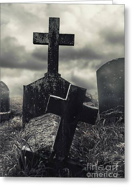 Headstones Greeting Cards - Raising the Dead Greeting Card by Margie Hurwich