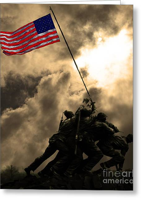4 July Greeting Cards - Raising The Flag at Iwo Jima 20130211 Greeting Card by Wingsdomain Art and Photography